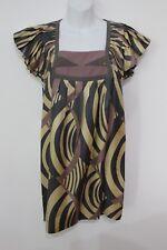Lauren Moffatt Silk Print Gold Stud Square Neck Ruffle Cap Shift Dress Sz 0
