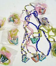 "BEAD NECKLACES WIT BUTTERFLIES  1dz. "" LOT OF 12 """
