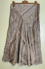 Beige Gypsy Boho Flared Mermaid Midi Skirt Size 12