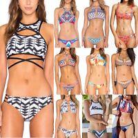 Womens Padded Push-up Bikini Set Swimsuit Bathing Swimwear Beachwear High Neck
