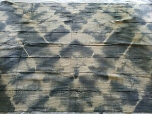 """Authentic African Handwoven Gray Tye dye Mud Cloth Fabric 63.5"""" by 42.5"""""""