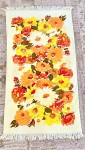 FLORAL VTG 70'S BATH TOWEL Home MOM Autumn Bouquet USA Cottage core MCM 38X22