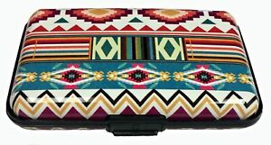 Aztec Striped Design RFID Secure Theft Protection Credit Card Armored Wallet New