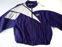 Vtg 90s Reebok Windbreaker Jacket Big Logo Purple white Full zip men's 2XL