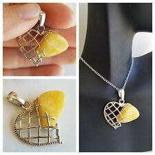 BALTIC AMBER HEART PENDANT Sterling Silver 925 BUTTERSCOTCH Royal White 4g
