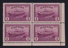 Canada Sc #273 (1946) $1 Train Ferry Block of Four Mint VF NH