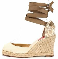 CHRISTIAN LOUBOUTIN Beige Olive Green Canvas Moudira Espadrille Wedges Size 38