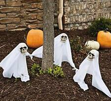 3pc Halloween Yard Décor Pathway LED Lighted Color Changing Ghost Yard Stakes
