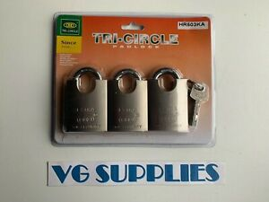 TRI-CIRCLE 3 x Keyed Alike 50mm Iron Padlocks With 4 Keys (matt finish) NEW