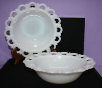 """Pair of Vintage Open Lace Edge Milk Glass 9-1/2""""  Serving Bowls ~ Anchor Hocking"""