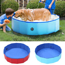 Foldable Dog Pool Pet Puppy Swimming Bathing Paddling Kid Tub PVC Blue Portable
