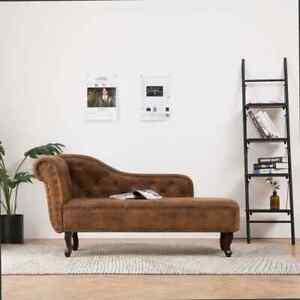 vidaXL Chaiselongue Braun Wildleder-Optik Relaxliege Loungesofa Recamiere Sofa S