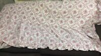 Vintage Twin BEDSPREAD Pink Floral Quilted with draperies (3 sets) & runners