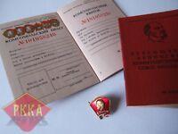 Abzeichen Pin schwer + BLANKO Komsomol FDJ Ausweis Member Card USSR UdSSR Lenin