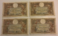 Lot Of 4 X France Banknotes. 100 Francs. Dated 1937. French Vintage Notes.