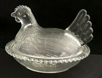 Hen on Nest Indiana Glass Clear Crystal Covered Chicken Candy Dish