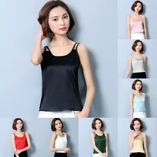 Womens Satin Silk Cami Strappy T-shirt Ladies Sleeveless Plain Vest Tank Top Tee