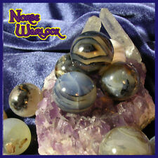 3 Ghost Agate Sphere Crystal Balls for Balance Harmony Acceptance Security!