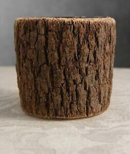 "RARE NEW Pottery Barn Set of 3 Real Bark Pillar Votive Glass Candle Holder 3"""