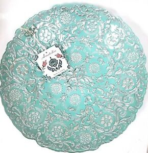 """ANATOLIA BLUE,SILVER FLORAL PATTRN FORGED GLASS BOWL,PLATTER,CENTERPIECE-16"""""""