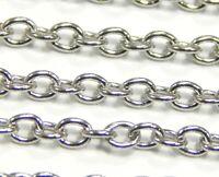 Edelstah Schmuckkette Silber 2 x 3 mm Metall Halskette Chain 1 Meter BEST M425