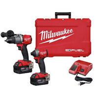 "Milwaukee M18 FUEL 1/2"" Hammer Drill & 1/4"" Hex Impact Driver Kit 2997-22 New"
