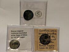 3 Ancienne Pièces Lot Licinius L, Empereur Gallienus, Monnaie Aurélien
