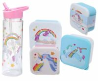 BPA Free Plastic Unicorn Water Bottle Or Girls Stackable Lunch Box Kids School