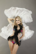 """white single layer Ostrich Feather Fan 25""""x 45"""" in Travel leather Bag"""