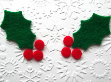 12 DIE CUT HOLLY LEAVES WITH BERRIES - BUNTING/APPLIQUE/CHRISTMAS CRAFTS