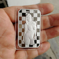 Naked Sexy Lady / 1 oz .999 Fine Silver  Round Bar Bullion SB1M4