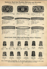 1924 PAPER AD Gold Sterling Silver Sewing Thimbles Mason Masonic Belt Buckle