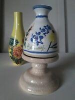 Vintage Studio Art Pottery Signed Weed Pot Bud Vase TX Salado bluebonnet floral
