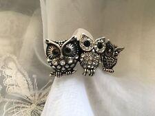 Vintage Novelty Ring Diamanté Owls X3 Adjustable Upwards Around P On Gauge