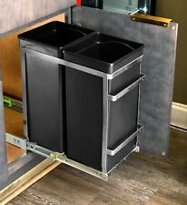 AdirHome Steel Double Pull-Out Under Counter Trash Cans Cabinet Waste Bin Frame