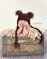 Crocheted Dark Brown Fuzzy Teddy Bear Hat size Newborn Sale