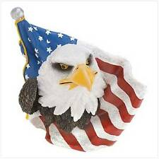 "Patriotic Eagle Displayed with Flag, Polyresin, 5 1/2"" x 3"" x 4 5/8"" high."