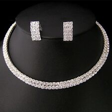 NR02 Party Wedding Bridal Crystal Necklace Choker Earring GP Silver Jewelry Set