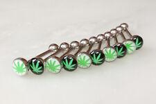 10pcs Marijuana Pot Leaf Dome Logo 14g Tongue Ring Wholesale Body Jewelry (t220)
