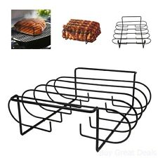 Rack Rib Grilling BBQ Oven Smoker Roasting Cooking Holds Camping Picnic