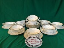 Royal Crown Derby WENTWORTH Footed Cream Soup Bowl & Saucers ~ Set of 11