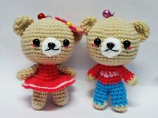 Handmade Bear Couple Crochet Miniature Dollhouse key chain Toy Gift Bag Charm