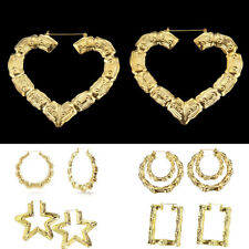 Large Bamboo Earrings Hoops 9cm Ladies Joint HipHop HEART Gold Bling Circle