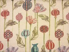 VOYAGE SUTAMI SUMMER HEAVY LINEN CURTAIN FABRIC FLORAL LINEN HEAVYWEIGH POPPIES