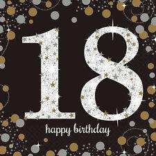 16 x NEGRO 18 años Servilletas Oro Plata 18th Cumpleaños Vajilla