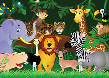 "Kids Wallpaper - WILD ANIMALS "" JUNGLE "" Wall Mural for childrens room & nursery"