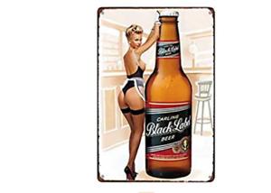BLACK LABEL TIN SIGN BOTTLE BEER LAGER CAP PUB BAR PIN UP BOMBSHELL BARTENDER