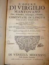 ENEIDE in folio OPERE di VIRGILIO 1726 Venezia Testo Italiano/Latino Incisioni
