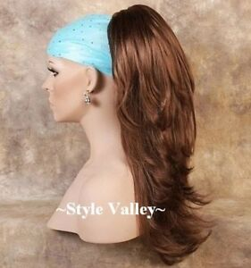 Auburn Ponytail Hairpiece Extension Long Straight Claw Clip Wavy Ends Hair piece