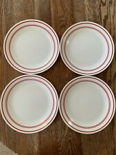 Set of 4 Corelle Classic Cafe Red Dinner Plates 3 stripes MCM Kitchy Home Decor